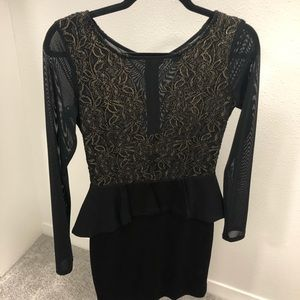 Bebe Black Mesh Dress with Gold Embroidery